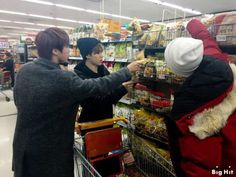 Grocery shopping with Jin, Jimin, and Jungkook