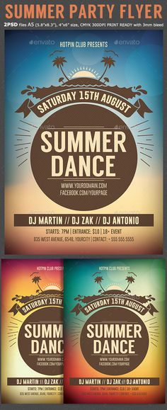 Summer Dance Party Flyer Tempalte #design Download: http://graphicriver.net/item/summer-dance-party-flyer-template/11802166?ref=ksioks