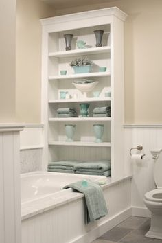 Shelving above tub in master bath