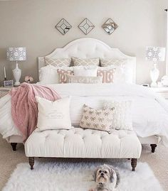 """Cecelia (@thewelldressedhouse) on Instagram: """"Bedroom goals! Love the pup too!....Tag a friend who would love this too!..... credit: @kimkhazel"""""""
