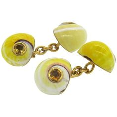 Trianon Shell Citrine Gold Cufflinks