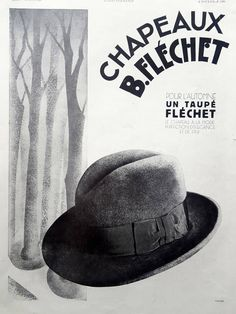 Flechet Hats vintage advertising poster, men fashion original art deco ad, 1930 old magazine ad, French illustration print, collectible ad by OldMag on Etsy