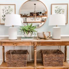 "World Market on Instagram: ""Our Everett Table + Sana Mirror have never looked better. Photo via @stephaniehoeyinteriors (link in profile to shop) #WorldMarket…"" World Market Table, Up House, Dream Apartment, Interior Decorating, Decorating Ideas, Entryway Tables, Family Room, New Homes, Dining Room"