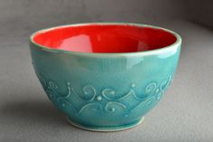 Stoneware Bowl  Blue Crackle and Red by symmetricalpottery on Etsy, $25.00
