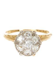 Old Mine Cut Diamond & Engraved Design Ring