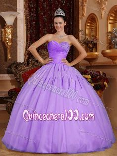 Discount Lilac Beaded Ball Gown Tulle Sweet Sixteen Dresses