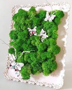 with lichens & white wood butterfly with cristals & beads - ceramic frame Wood Butterfly, White Wood, Herbs, Ceramics, Frame, Handmade, Home Decor, Ceramica, Homemade Home Decor