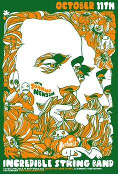 Incredible String Band. Poster by Mark McDevitt from Methane Studios