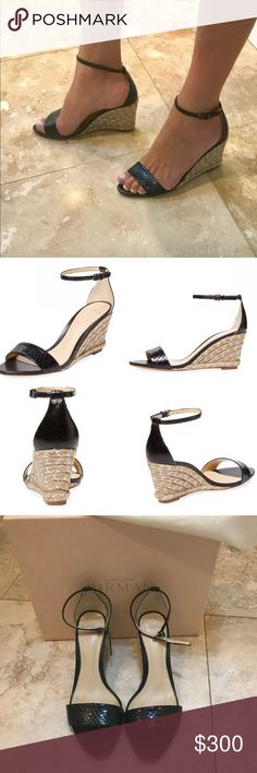 """Alexandre Birman Blk Python 2 piece espadrille 8.5 Perfect condition aside from wear on soles.  Only worn one night!  So comfortable - 3"""" (75 mm) jute wrapped Wedge heel; Python upper with adjustable ankle strap.  Wedge is silver metallic stitched.  Leather lining and sole.  Padded insole.  Made in Italy.  Completely sold out everywhere!  Size is 38.5 but with this brand I find that 38 and 38.5 are the same.  Box and dust bag included. Alexandre Birman Shoes Espadrilles"""