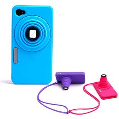 Apple iPhone 4 / 4S Silicone Telescopic Camera Shape Grip Skin Case w/ Hang Rope w/ Stand