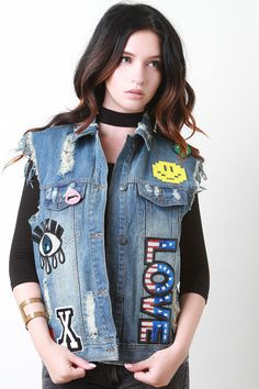 Love Patch Distress Denim Vest