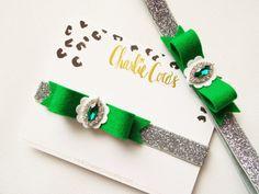 Baby/Girls Felt Hair Bow Headband- Felt Bow Headband, St. Patrick's Day Bow Headband, Emerald Jewel Felt Bow Headband by Charlie Coco's
