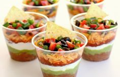 7 layer bean dip...in individual little cups...perfect for cinco de mayo!  Maybe fun for staff lunch?