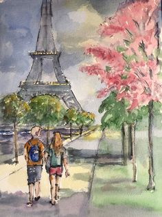 Watercolor and ink painting hikers in Paris. Www.lazink.com