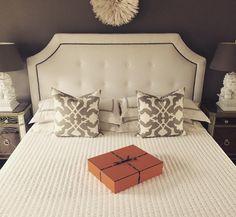 Gray bedroom #graybedroom #tuftedheadboard #restorationhardware #barbarabarry #foodoglamp