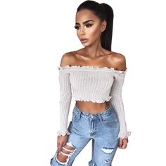 44fa54051a3897 2018 New Tank Tops Sexy Off Shoulder Ruffles Ruched Knit Crop Top Women  Short Tees Casual Streetwear Basic Camis