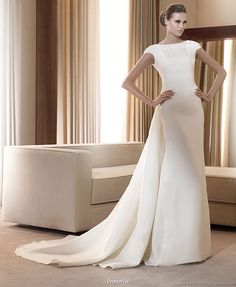 Pronovias  2011 Bridal Gown Collection - Italico smart wedding dress with cap  sleeves and chapel train