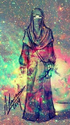 Hijab and universe , universe is inside me if i am in naqab. Hijab Anime, Anime Muslim, Muslim Hijab, Hijabi Girl, Girl Hijab, Niqab Fashion, Muslim Fashion, Muslim Girls, Muslim Women