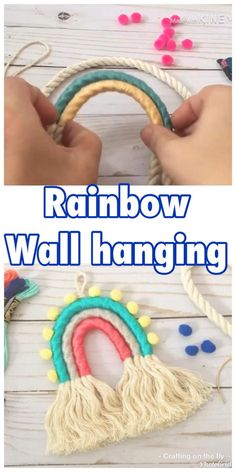 Easy Rainbow Wall Hanging tutorial Learn how to make this rainbow wallhanging for your nursery and home decor rainbow wallhanging diy tutorial Diy Home Decor Easy, Diy Home Crafts, Easy Diy Crafts, Diy Crafts Videos, Diy Crafts For Kids, Diy Room Decor, Diy Wall Decor For Bedroom Easy, Spring Crafts For Kids, Diy Videos