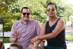 Grand Marshall Ross Matthews (left). Michigan Pride March to the Capitol 2013, Lansing. by Tammy Sue Allen.