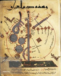 Cartography - 10th century - Map showing the course of the Tigris River by Arab scholar and geographer, Al Istakhri