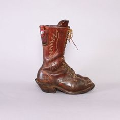 Vintage Custom Logger BOOTS / Brown Leather by ToughLuckVintage