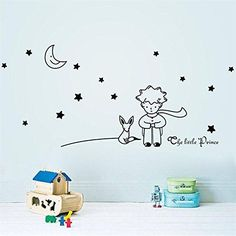 Funnytoday365 Est Design Little Prince With Fox Moon Star Home Decor Wall Sticker  Lovely Romantic Kids Room Decal  Gift For Child Friend * Check this awesome product by going to the link at the image.