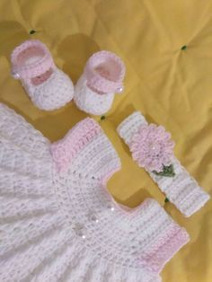 Crochet white baby dress set with pink trim by BabyBeautiful801