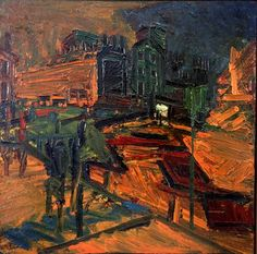 Frank Auerbach, Looking Towards Mornington Crescent Station, Night - I love his texture - his work contain so many layers of paint! I have tried to do this in my final two development Abstract pieces. Frank Auerbach, Bad Painting, Sheffield Art, Banksy Graffiti, City Scene, Art Uk, Environmental Art, Urban Landscape, Plein Air
