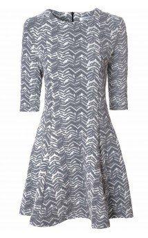 Grey Chevron Print Skater Dress