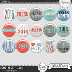 #2016 January - Flair Pack by Kim to coordinate with #2016 January by Connie Prince. Includes 15 flair elements. Includes flair version and flat sticker version; also includes a printable file with flair stickers Saved in PNG format. Scrap for hire / others ok.