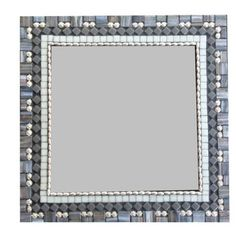 Modern Geometric Wall Mirror // Gray and Silver // Square Wall Art
