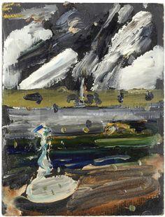 "John Walker, ""Seal Point Series Oil on Bingo card. John Walker, Walker Art, Abstract Landscape Painting, Landscape Paintings, British American, Art Images, Contemporary Art, Museum, Sculpture"