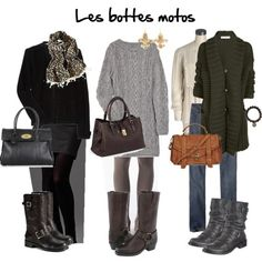 Sweater dresses and leggings w. motorcycle boots!!