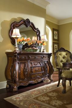 AICO Furniture - Chateau Beauvais Sideboard and Mirror Set in Noble Bark - 75007 / 75067 Dining Room Furniture, Home Furniture, Furniture Design, Furniture Ideas, Tuscan Furniture, Victorian Furniture, Vintage Furniture, Wooden Furniture, Outdoor Furniture