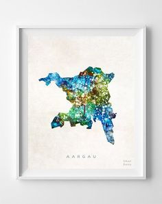 Inkist Prints offers unique art prints and posters at great prices! Check our vivid yet mellow Aargau Switzerland watercolor map print, suitable for your home! Watercolor Map, Living Room Paint, Artwork Prints, Diagram, Poster, Switzerland, Gifts, Painting, Decor