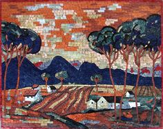 Another example of our fall landscapes scenery! The best part is that while this #mosaic #mural lend its charm to #autumn, It'll spice up your home all year round! | #Mozaico