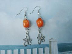 Natural orange quartzite stone earrings with flower charms - silver plate surgical steel non allergenic sensitive ears earring wires