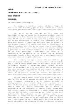 Itauguá, 20 de febrero de 2.012.-SEÑOR:INTENDENTE MUNICIPAL DE ITAUGUÁLUIS SALINASPRESENTE:De nuestra mayor consideración ...