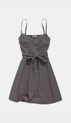 Dark Gray Tie-Waist A-Line Dress