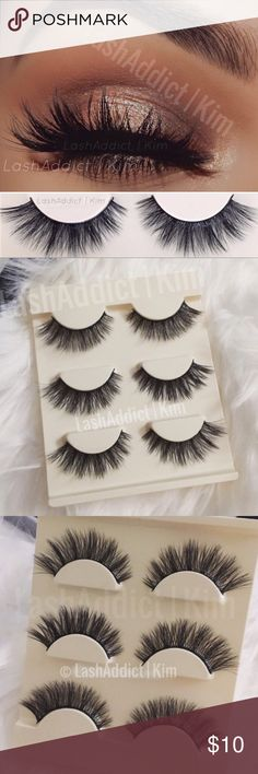 Mink lashes eyelashes makeup 3d Lilly makeup new 3 Pairs Mink Lashes Eyelashes/ brand new in tray Makeup False Eyelashes