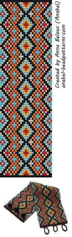Схема широкого браслета из бисера - станочное ткачество / гобеленовое плетение