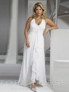 cd5191a2843 Modest Plus Size Wedding Dresses Halter Ankle length Floor length Chiffon  affordable on sale
