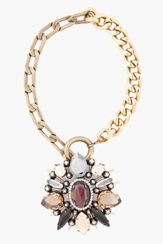 Lanvin antique necklace with medal pin pendant