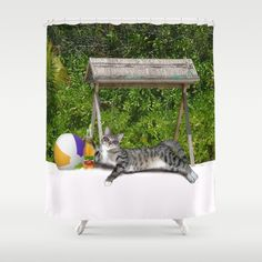 Buy Vacation Time - Beach Bum Kitty Shower Curtain by #Gravityx9 #Society6 - . Worldwide shipping available at Society6.com. Just one of millions of high quality products available. - #showercurtain #curtain  #beach #vacation #cat #catposter #beachcat #vacationcat #funny #summer