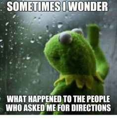 SOMETIMES I WONDER WHAT HAPPENED TO THE PEOPLE WHO ASKED ME FOR DIRECTIONS from Imgur tagged as Wonder Meme