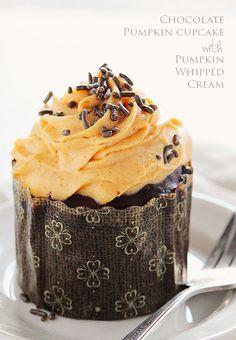 Chocolate Pumpkin Cupcakes with Pumpkin Whipped Cream