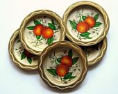 Vintage Coasters - Set of 6 - 1960's, Metal Coasters, Peaches, Orange and gold, Retro Bar ware, Bar accessories, Entertaining, Unbreakable