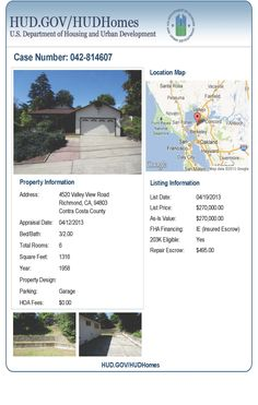 Great opportunity to purchase a HUD owned home in the Richmond area of Contra Costa County!  Check out this home!