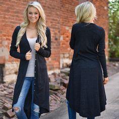 Women Loose Sweater Long Sleeve Knitted Cardigan Outwear Jacket Coat                      – kickNrim